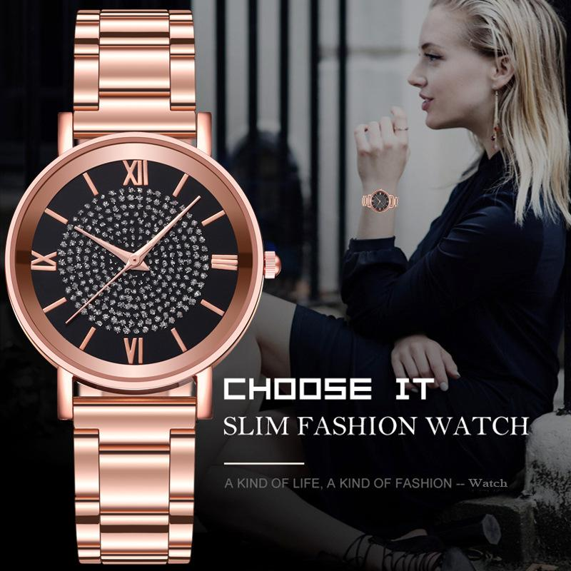 Fashion Brand Women Quartz Watch Stainless Steel Watchband Roman Numeral Watch Lady Wristwatch Clock