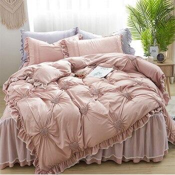 Бесплатная доставка, Комплект постельного белья из 4 предметов, из вискозы, с рюшами и сердечками, в Корейском стиле
