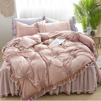 Free Shipping ice silk lace 4pcs modal bedding set Korean princess heart ruffles full/queen/king постельное белье с рюшами MR