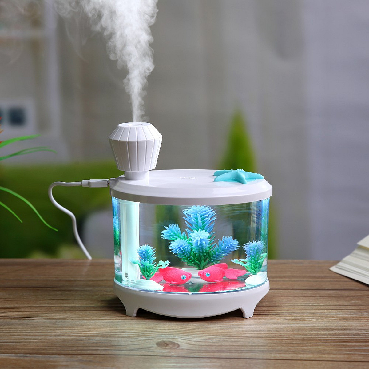 LED Night Light Ultrasonic Air Humidifier 460ML USB Tank Type Essential Oil Aroma Diffuser Atomizer Quality Home / Office