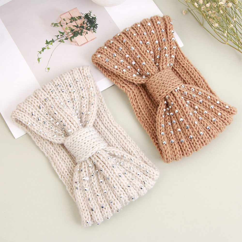 Soft Winter Warmer Ear Knitted Headband Bow Rhinestone Headwear For Women Girls European Solid Turban Hair Band Head Warp Dropsh