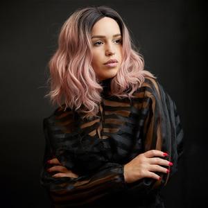 Image 5 - תחרה מול סינטטי שיער פאות X TRESS Ombre חום בלונד צבע טבעי גל צד חלק 12 קצר בוב L חלק תחרה פאה עבור נשים