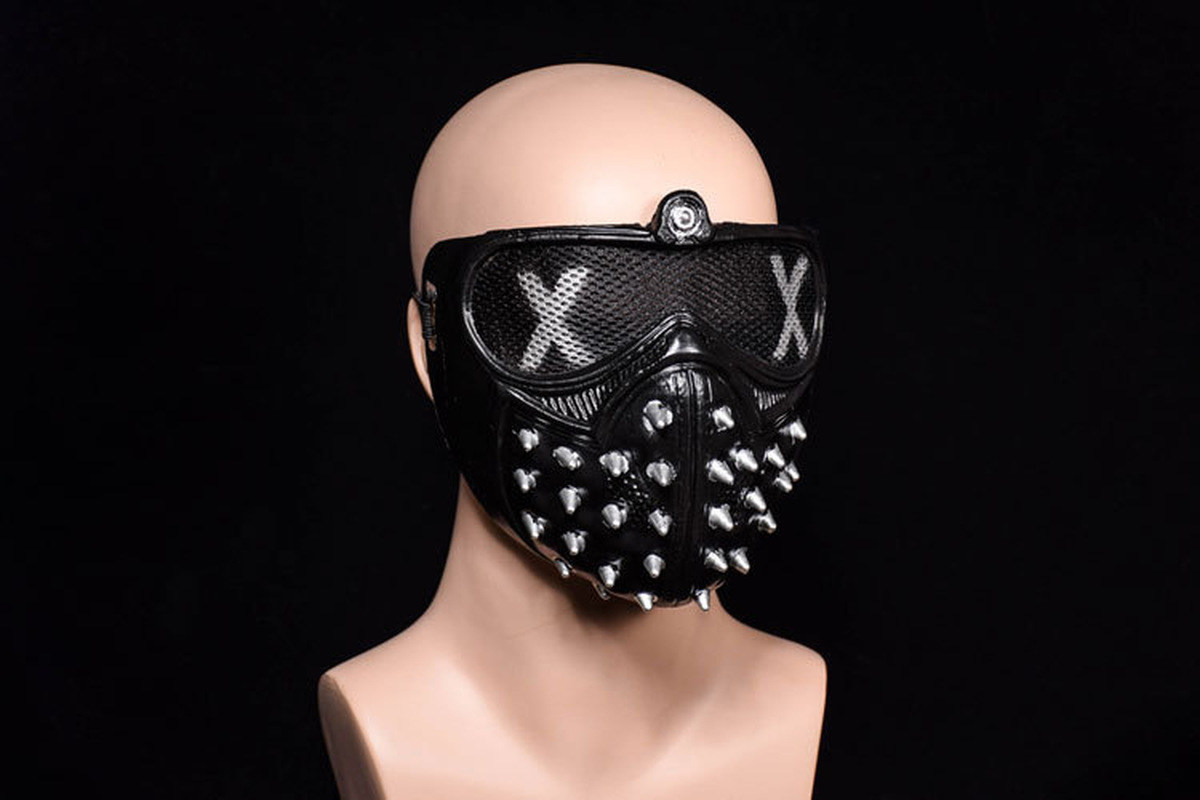 Hotsale Half Face PVC <font><b>Masks</b></font> Party Cosplay Props Game <font><b>Watch</b></font> <font><b>Dogs</b></font> <font><b>2</b></font> WD2 <font><b>Mask</b></font> Marcus Holloway <font><b>Wrench</b></font> Cosplay Rivet Face <font><b>Mask</b></font> image