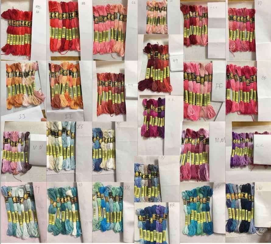 Hh cxc متعدد الألوان 8 قطعة مماثلة DMC الموضوع عبر غرزة القطن الخياطة Skeins التطريز الخيط عدة لتقوم بها بنفسك أدوات خياطة