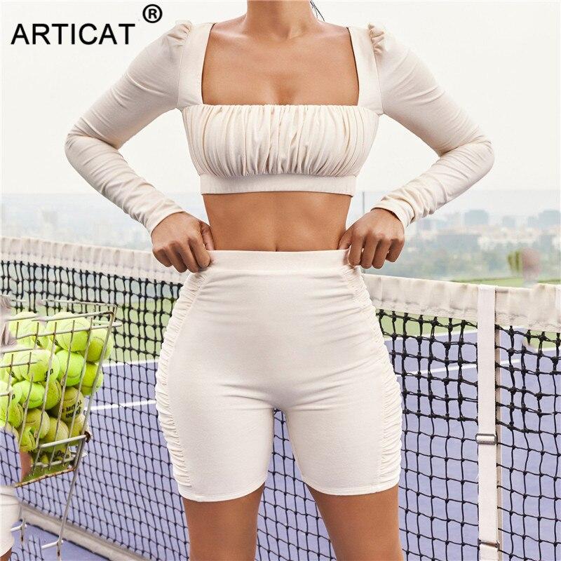 Articat-Conjunto de dos piezas fruncido para mujer, Top corto de manga larga con cuello cuadrado, pantalones cortos de motorista, traje informal, chándal