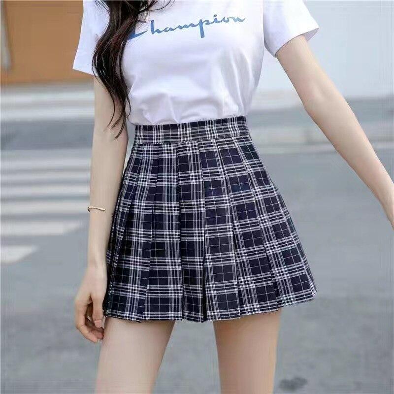 Sexy women short skirt cute female pleated skirt spring and autumn high waist solid color mini skirt summer female skirt 6