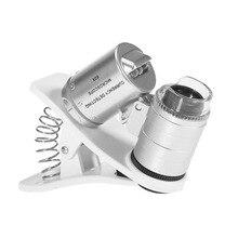 OUTAD 2-в-1 универсальная 60X телефон Камера микроскоп мини Портативный Clip-on увеличительное Стекло с светодиодный/ультрафиолетовые лучи для смартфонов