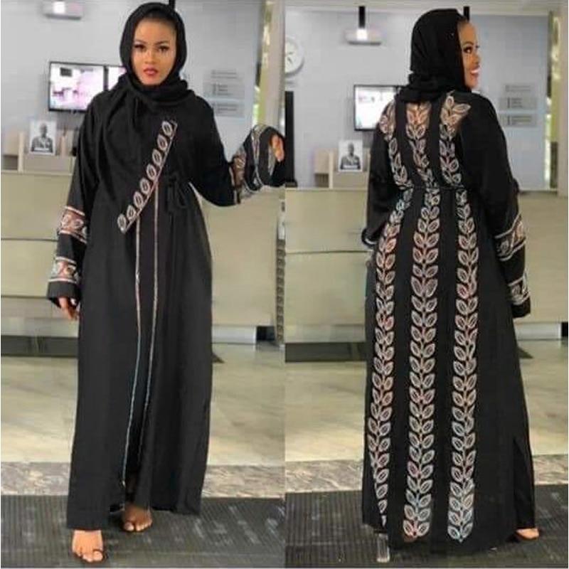 MD Abayas For Women Elegant Hijab Dress Dubai Turkey Muslim Hijab Dress Caftan Marocain Shiny Stones Kimono Islamic Clothing(China)