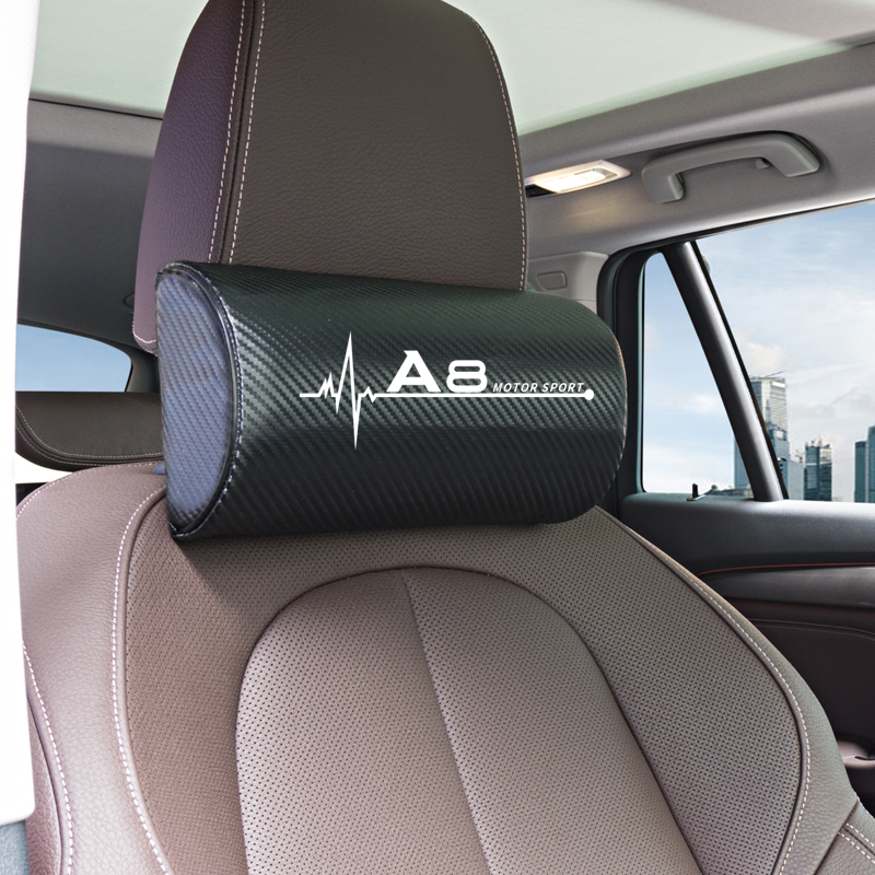 Leather Auto Car Neck Pillow Neck Rest Seat Headrest Cushion Pad for <font><b>Audi</b></font> <font><b>A8</b></font> <font><b>d2</b></font> d3 d4 4e Accessories Car Styling image