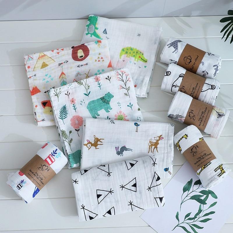 120cm * 110cm Swaddle Decke Baby Decke Bambus Musselin Decke Kinder Baby Bad Handtuch Decken Neugeborenen Decke Swaddle baumwolle