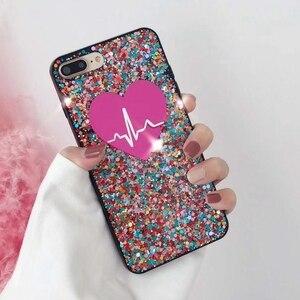 Image 2 - Iphone 11 Pro 7 8 artı XR XS MAX Samsung S20 Ultra S8 S9 S10 not 20 10 benzersiz kalp özel adı lazer Glitter telefon kılıfı