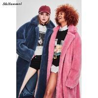 Long Leopard Print Faux Fur Coat Women Fashion Pink Teddy Coat Fluffy White Faux Fur Jacket Women Plus Size Long Fleece Jacket