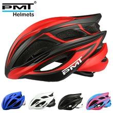 Pmt ciclismo ultraleve capacete respirável da bicicleta de estrada capacete intergralmente moldado homem e mulher fietshelmen kask bicicleta com segurança boné
