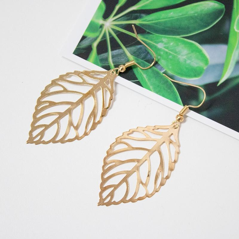 2019 Pendientes Mujer Hot Fashion Wholesale Jewelry Hollow Metal Leaves Dangling Long Statement Drop Earrings For Women Bijoux