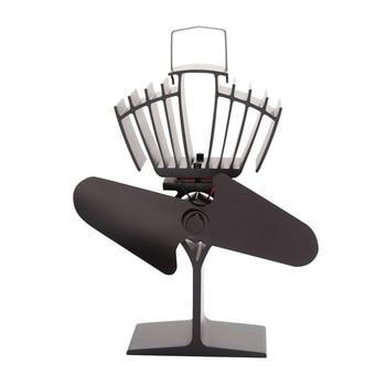 Black 2 Blades Heat Powered Wood Stove Fan for Wood Log Burner Fireplace Fan