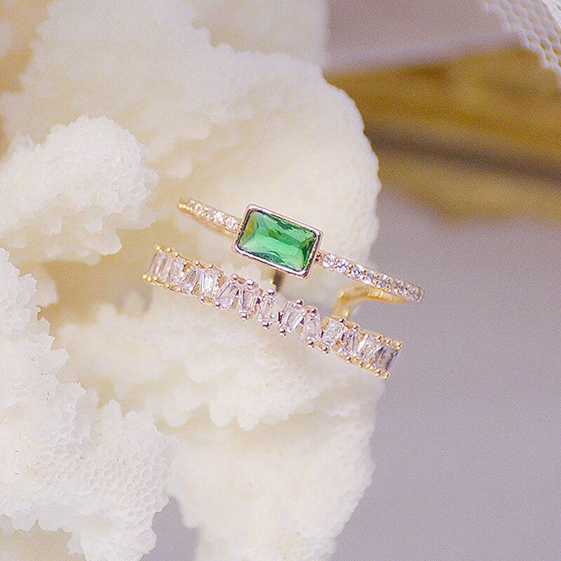 Bohême vert émeraude cristal femmes anneau Double couches Transparent Zircon élégant Bague Anillos briller bijoux de mariage de mariée 2