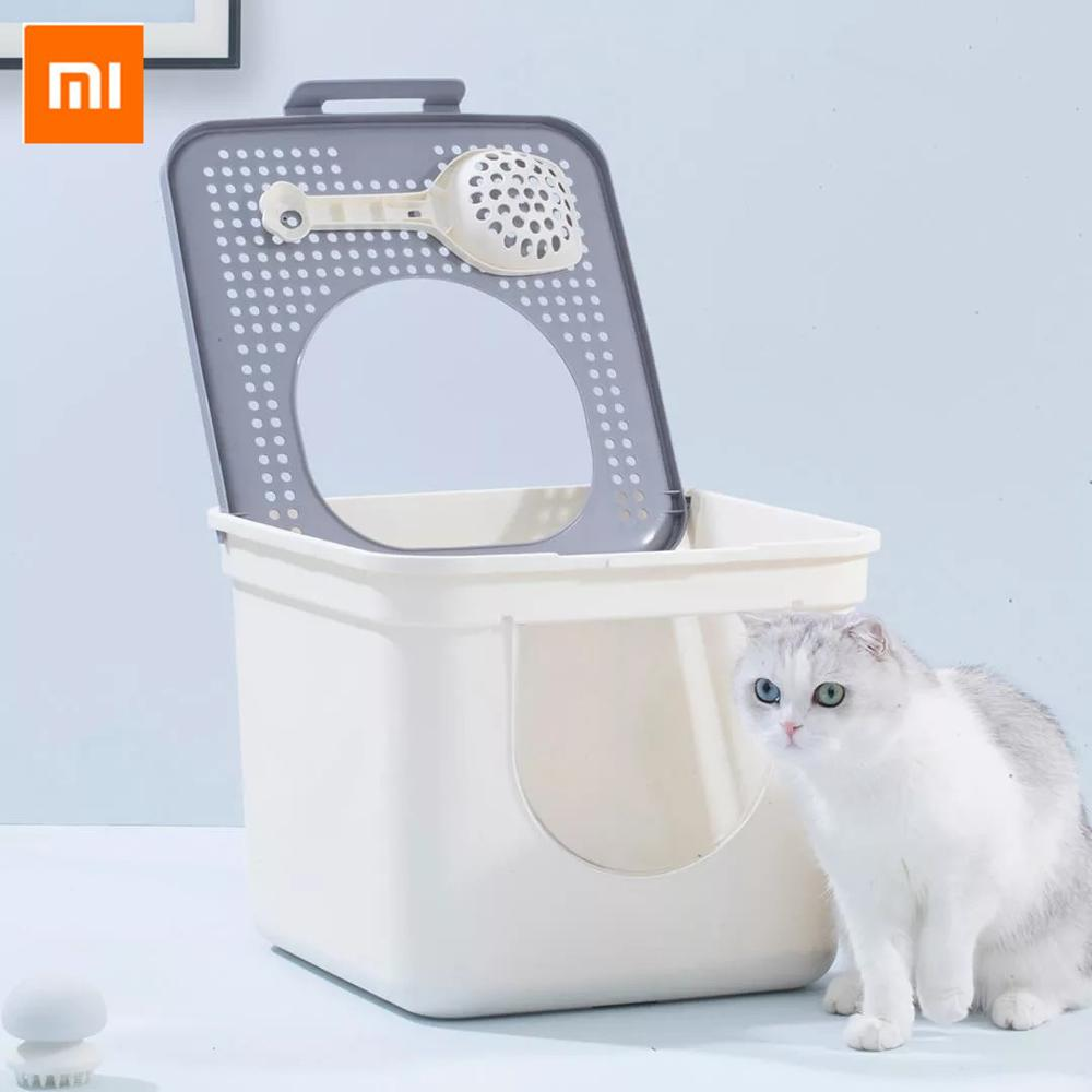Xiaomi FURRYTAIL Cat Litter Box Toilet Close Pet Cats Potty Litter Boxes Double Door With Scoop For Pets Kitty Home Pet Supplies