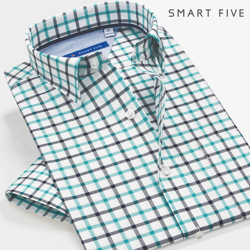 Summer Green Grid Shirt Men Slim Fit Thin Section Inch Clothing Business Leisure Youth Clothes Male Shirt Short Sleeve Chao