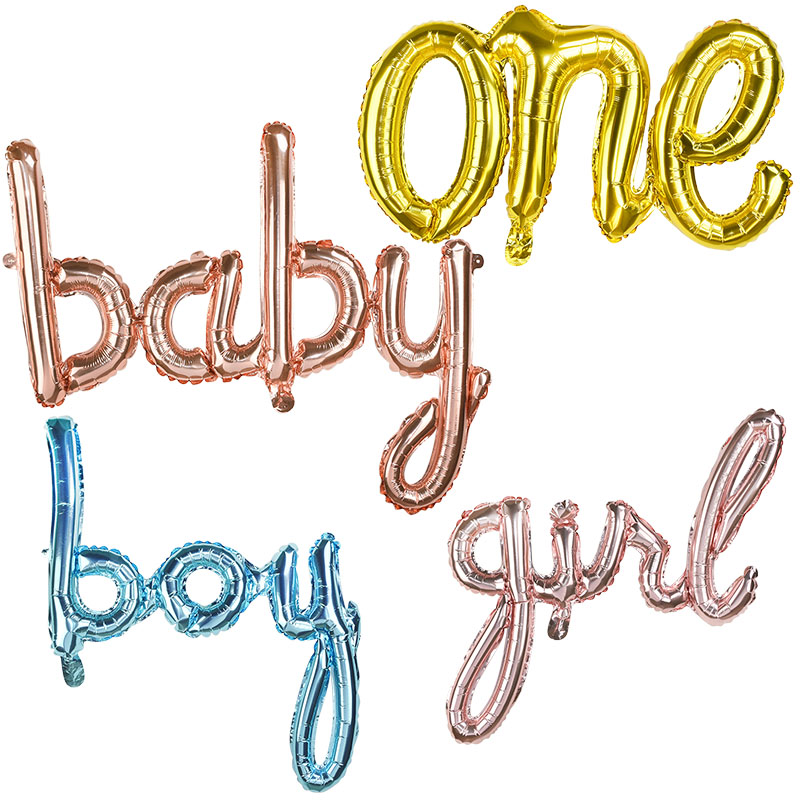 One Baby Boy Girl Letter Foil Balloon Baby Shower 1st Birthday Party Decorations