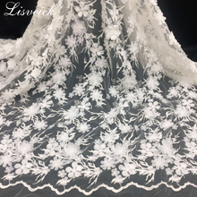 1yard 3d polyester light bilateral positioning wave embroidery mesh fabric Double-layer car flower lace diy wedding dress