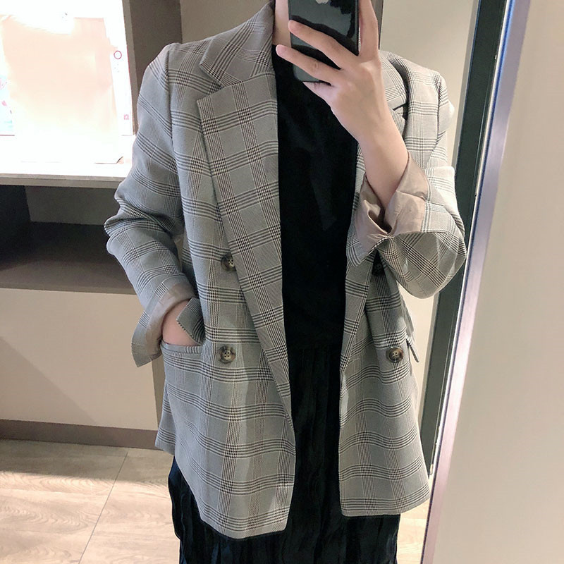 Korean Retro Plaid Suit Women Version 2019 Leisure Appearance Thin Double Breasted Jackets and Coats