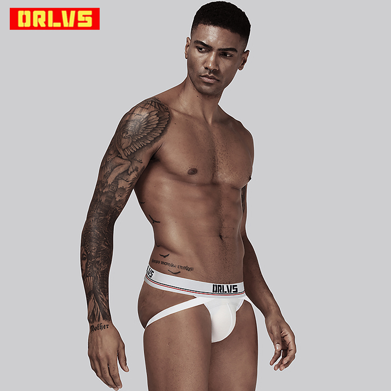 ORLVS Brand Sexy Men Underwear Sexy Gay Male Underwear Cotton Male Panties Breathable Men Thong G-String Cueca Tanga OR405