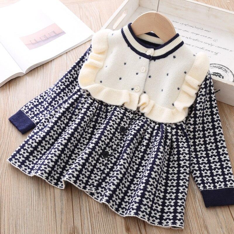 Лидер продаж года, осенне-зимнее Новое Стильное вязаное платье в западном стиле в Корейском стиле Детский свитер юбка принцессы A - Цвет: Другое