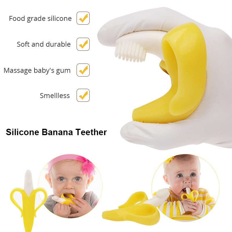 Baby Silicone Teether Banana Training Toothbrush Safe Food Grade Baby Teething Toys Chew Dental For Infant