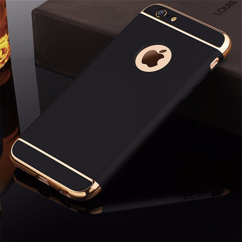 Para iphone 6s caso de luxo preto fosco duro 360 caso proteção para iphone 6s 7 8 plus removível 3 em 1 capa traseira para iphone 6 x