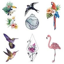 Fake-Tattoo Stickers Bird-Flower Temporary Tatoo Body-Art Waterproof Wyuen for Adult