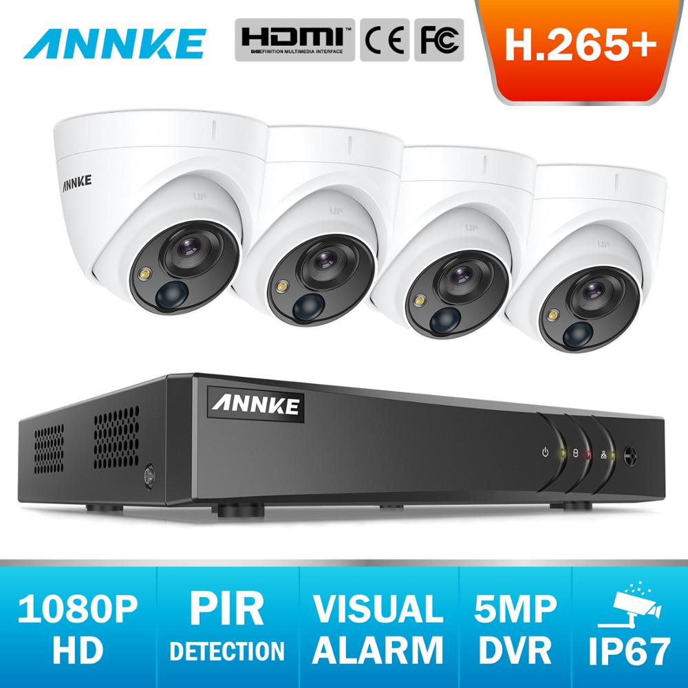ANNKE 8CH FHD 2MP Video Security System 5MP Lite 5in1 DVR With 4X 1080P Outdoor Weatherproof Dome Cameras PIR Detection CCTV Kit
