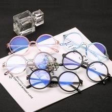 Fashion Women Glasses Frame Men Anti Blue Light Eyeglasses Frame Vintage Round Clear Lens Glasses Optical Spectacle Frame two tone frame flat lens glasses