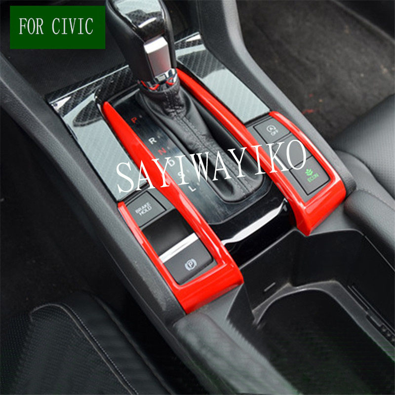 Carbon Fiber Style Gear Shift Knob Box Panel Decoration Frame Stickers Cover fit for Honda Civic 2016 2017 2018 10th Moulding