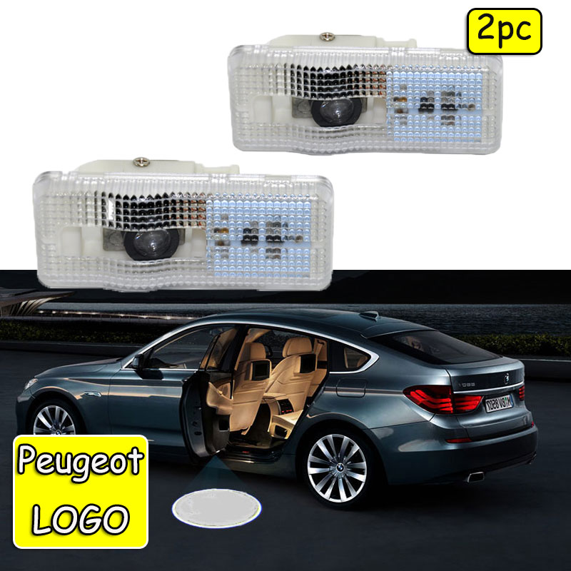 2x Car Logo Door Light LED Projector For Peugeot 407 2004-2010 Ghost Shadow Welcome Light