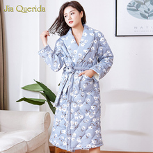 Winter Robe Kimono Nighty Housecoat Long-Sleeve Cotton Plus-Size Lingerie Floral Female