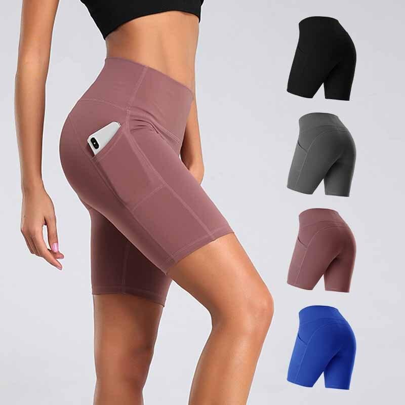 Women Gym Shorts Women High Waist Lifting Push Up Tight Sports Leggings + Phone Pocket Jogging Running Fitness Yoga Short Pant