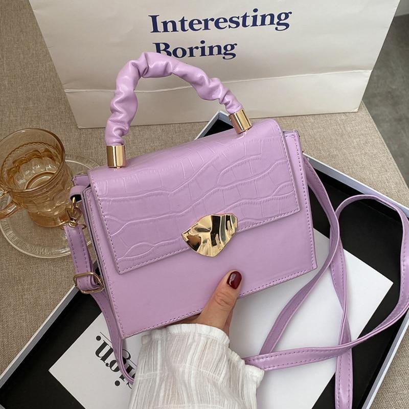 Fashion Small Handbag Designer PU Leather Shoulder Bags for Women Stone Pattern Crossbody Bags Solid Flap Women Bag|Shoulder Bags| - AliExpress