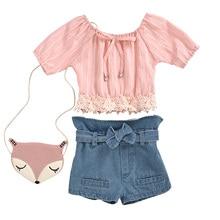 Girls Sets Summer Floral Children Sleeveless T-shirt+Solid Shorts 2PCS Kids Suit Fashion Children Clothes03 цена 2017