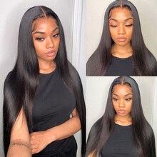 Perruque Lace Frontal Wig naturelle malaisienne Remy, cheveux lisses, HD, 4x4, 13x4, pour femmes africaines
