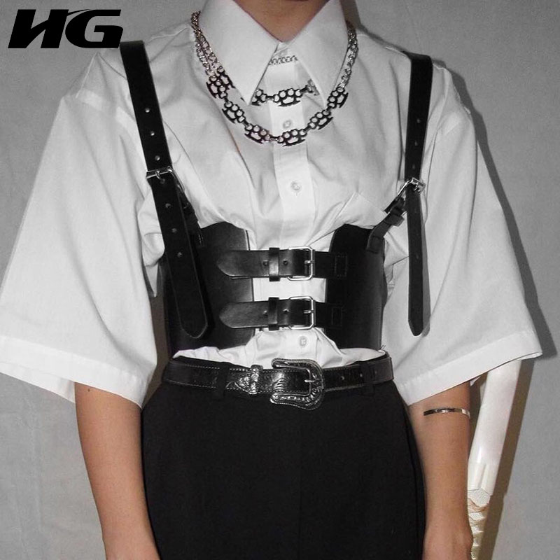 HG Strap Belt Cummerbunds Women Fashion Pu Leather Corsets Black Vintage Personality Belt Lady 2019 New Autumn Match All ZYQ1432