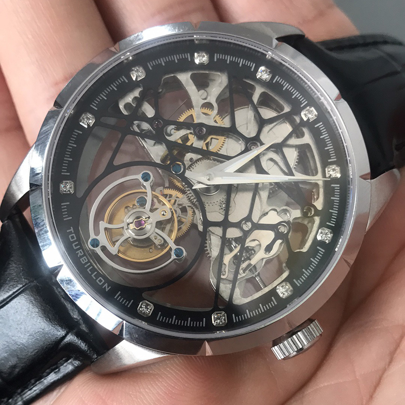 Image 3 - Super New Model GUANQIN Original Tourbillon business men watch top brand luxury Skeleton Sapphire  clock men Relogio Masculino-in Mechanical Watches from Watches