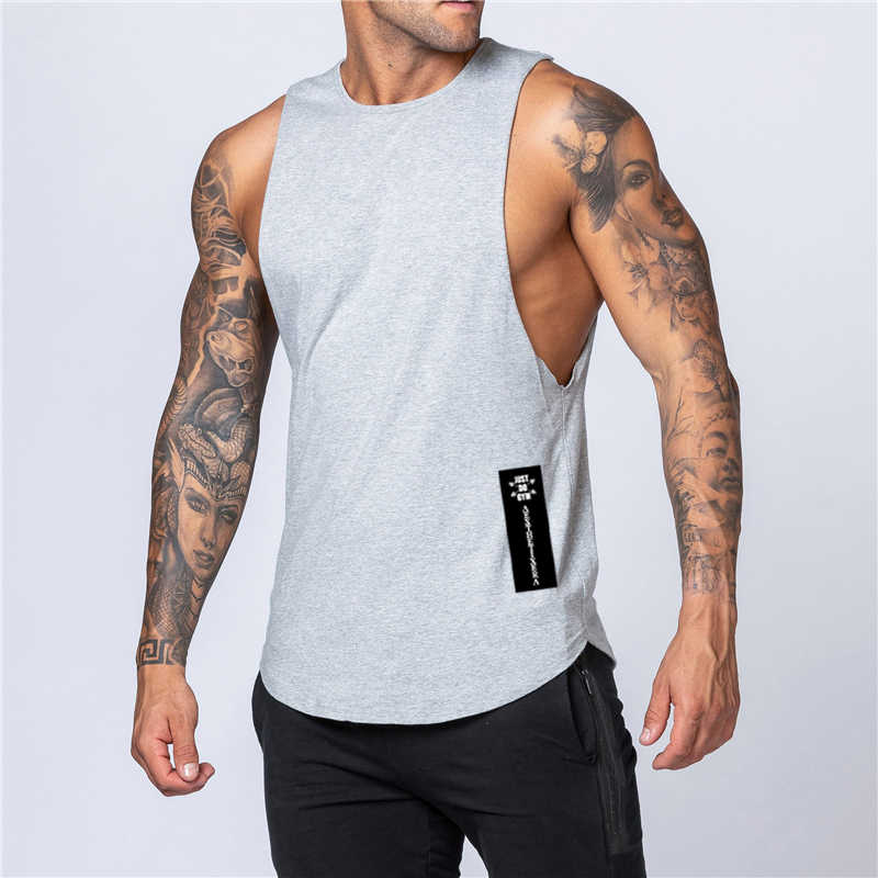 Latihan Gym Pria Tank Top Rompi Otot Tanpa Lengan Olahraga Kemeja Stringer Pakaian Fashion Binaraga Singlet Katun Kebugaran