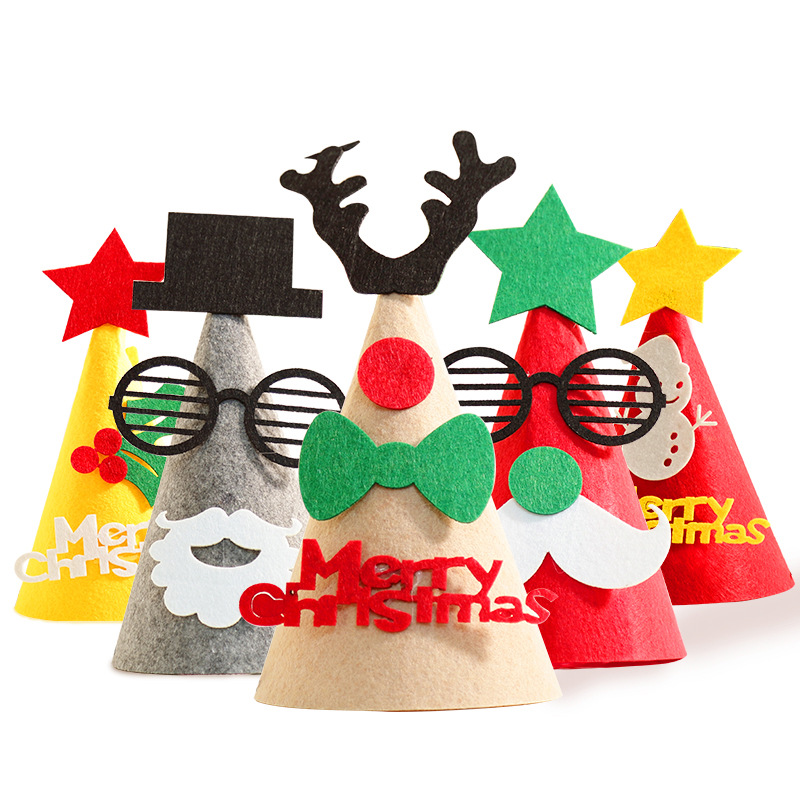 3D Felt Children's Christmas Hat DIY Children's Handmade Christmas Hat Gift Three-dimensional  Tree Decorations Gift Birthday