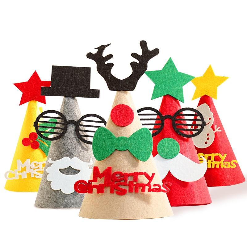 3D Felt Children's Christmas Hat DIY Children's Handmade Christmas Hat Gift Three-dimensional  Tree Decorations Gift Birthday
