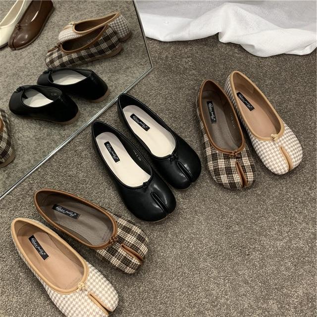 Sapatos ninja mulher microfibra de couro confortável apartamentos split toe chinelos de fundo macio mocassins sólida breve senhoras mocassins 35-40 hm051 2