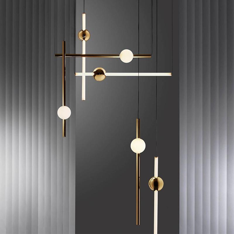 Post Modern Vertical Horizontal  Led Pendant Light Long Tube Hanging Lamp  For Living Guest Dinning Room Bedroom