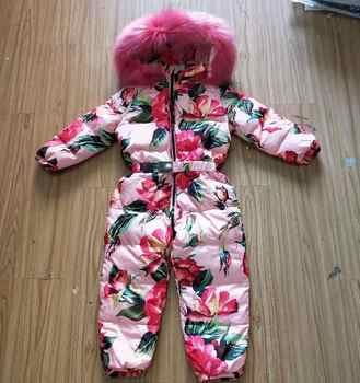 Childrens Down Jacket Winter Hooded Snow Wear Thicker Warm Outerwear Real Fur Collar Modis Print Kids Clothes Down Jacket Y1711