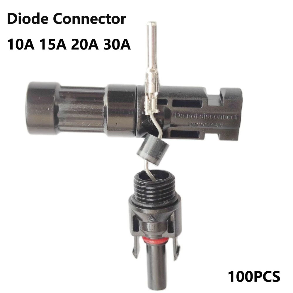 100PCS Solar DC Diode Plug Connector 10A 15A 20A 30A Waterproof For PV System Solar Panel Parallel Connection Backflow Protecter