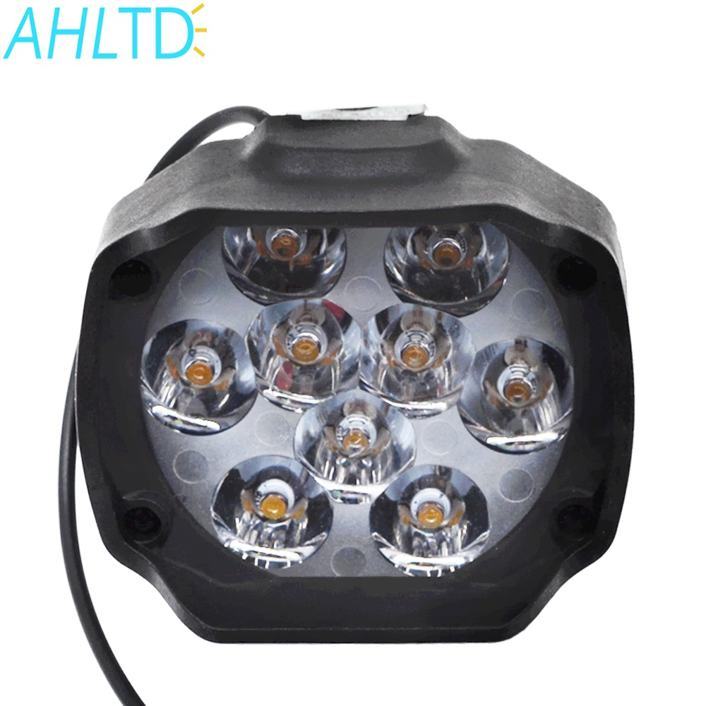 Led White Work Light 9 Led Auxiliary 15W 1500LM Truck Moto Motorcycles Headlight Lamp Scooters Fog Light Working Spotlight 6000K