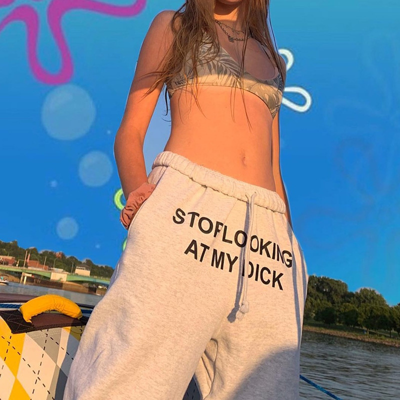 STOP LOOKING AT MY DICK Letter Print Pants Women Cotton Joggers High Waist Cargo Trouser Casual Loose Hip Hop Funny Sweatpants